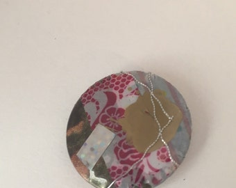 Pink collage Button/Pin.