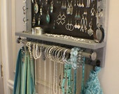 ON SALE You Get To Pick The Stain, Mesh and Hook Color, Scroll Trim Series Wall Mounted Jewelry Organizer with Bracelet Bar, Necklace Holder