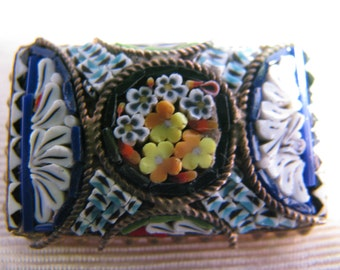 Vintage Italian Micro Mosaic Rectangle Brooch