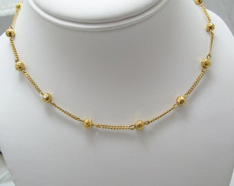 Beautiful 18k Yellow Gold Bead and Chain Short Necklace