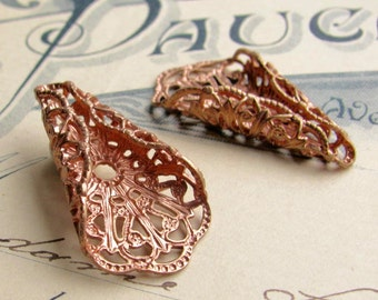 Flat back filigree cone bead cap (2) wrap for briolettes, antiqued brass, folded fan, 30mm, rosy brass filigree, brass rose gold bead caps