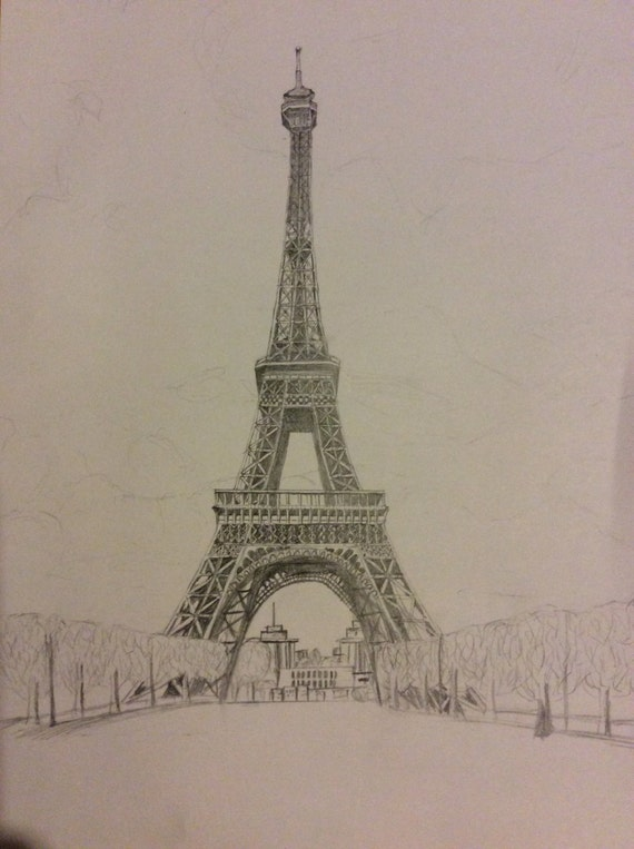 detailed drawing of the eiffel tower a4 pencil art original. Black Bedroom Furniture Sets. Home Design Ideas