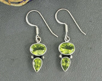 Peridot Earrings - Peridot and 925 Sterling Silver Dangle Earrings - Peridot Earrings - Peridot Jewelry - Peridot Designer Earrings, E/06/20