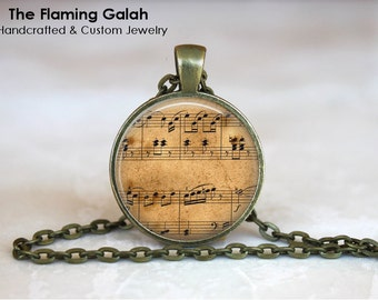 SHEET MUSIC Pendant • Vintage Sheet Music • Music Lover • Musical Notes • Gift for a Musician • Gift Under 20 • Made in Australia (P1264)