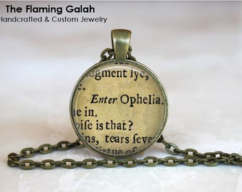 OPHELIA Pendant • Vintage Shakespeare Play • Steampunk Jewelry • Gift Under 20 • Made in Australia (P0940)