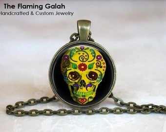 YELLOW SUGAR SKULL Pendant. Day of The Dead Necklace. Gift Under 20. Handcrafted Jewellery in Australia (P0509)