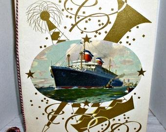 Vintage dinner menu's,USS America, American ocean liner