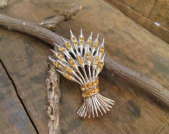 vintage silver tone ora amber wheat spray brooch