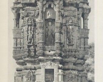 Jain Figure Chitogarh, Tower of Fame, India ... Photogravure from 1928