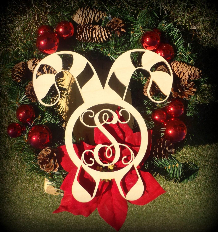 Christmas Cutout Decorations: Candy Cane Cutout, Monogrammed Door Hanger, Christmas