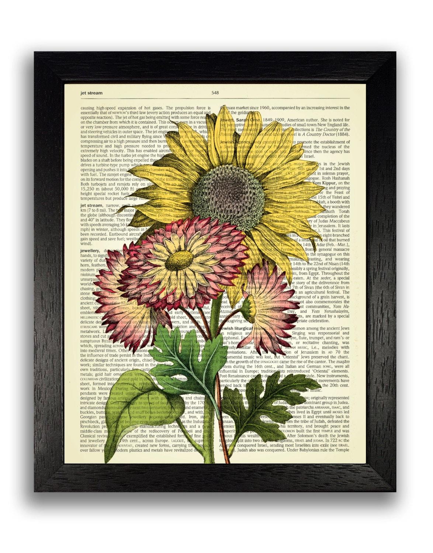 Vintage Sunflower Wall Decor : Sunflower wall art flower print vintage botanical