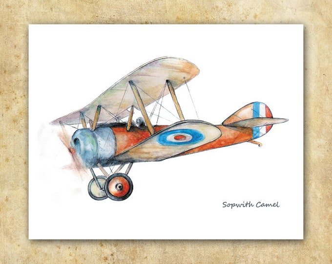 Vintage airplane print Sopwith Camel watercolor Aircraft poster Boys art Airplane painting Aviation art Retro avia Baby boy nursery wall art