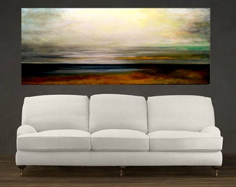 Landscape of Clouds over Bay Original Large Abstract Landscape Oil Painting, Wall Decor, Fine Art