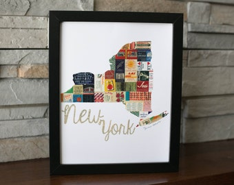 New York Map Print Made with vintage matchbooks