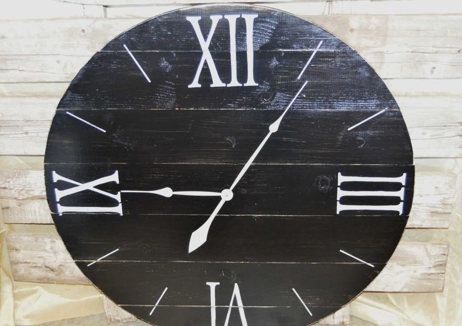 36 Large Oversized Distressed Wood Wall Clock Black