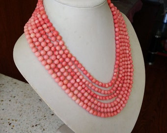 """6 rows 17-22"""" 6-7mm Pink Round Natural Pink Coral Bead Necklace"""