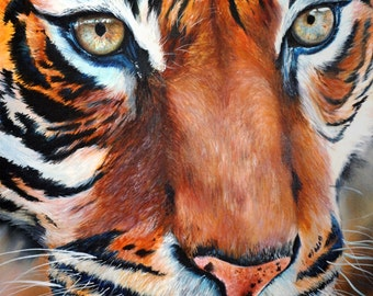 Hypnotic Stare of the Huntress - Tiger Painting on Canvas