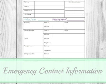 Emergency Contact Information - Babysitter Reference, Household PDF Printable, Home Management Binder