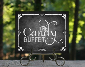 Candy Buffet Wedding Signage, Printable Wedding Sign, Chalkboard Wedding, Rustic Wedding Sign, Wedding Decor, Instant Download, Candy Bar