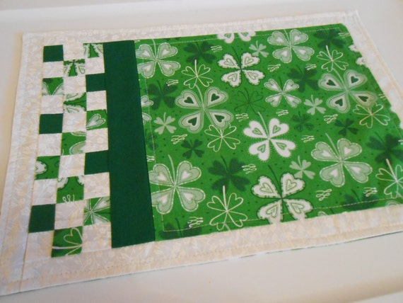 st patrick 39 s day placemat quilted green white