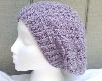 Alpaca mix slouchy hat - Crochet slouchy hat - Purple Alpaca hat - Alpaca slouchy beanie