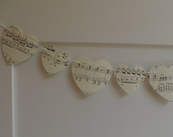 Sheet Music Heart Garland, Choose Length-Size of Hearts, Heart Garland , Wedding garland, Baby shower, Home decor,