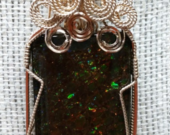Ammolite 49 ct. pendant necklace in 14K gold filled wire