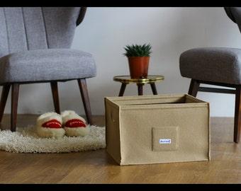 Felt storage basket, felt organizer, felt storage box, felt bin Cappuccino