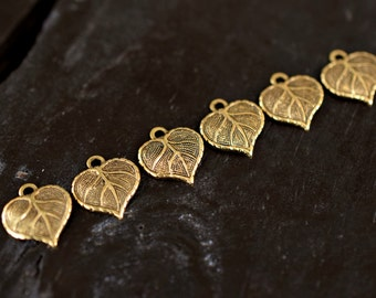 Tiny Antiqued Gold Leaf Charms, 6pcs