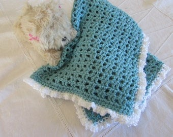 Blanco y verde de espuma de mar de seguridad abrazo manta - Muñeca Preemie de - bebe frazada - manta de cuna - regalos - a la manta-