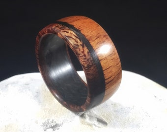 Koa with carbon fiber, mens wedding band, wood ring, wood wedding band, wooden ring, mens wood wedding band, koa wood ring, wood wedding