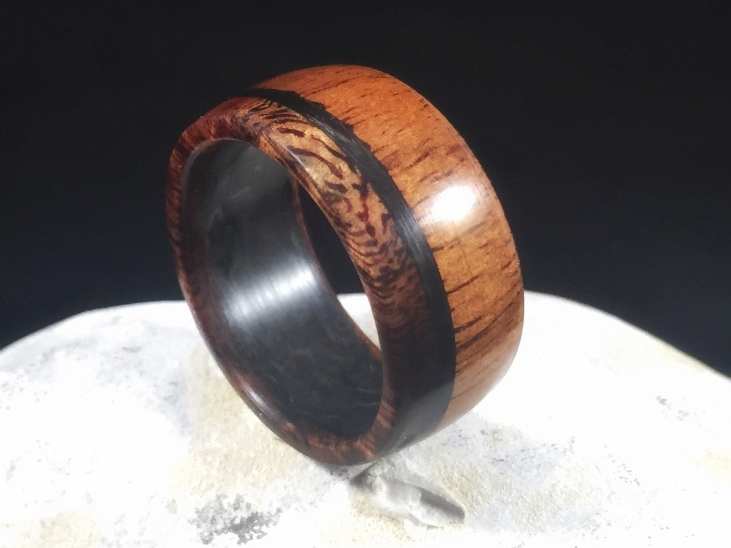 hawaiian ring wooden wedding rings Koa with carbon fiber mens wedding band wood ring wood wedding band wooden ring mens wood wedding band koa wood ring wood wedding