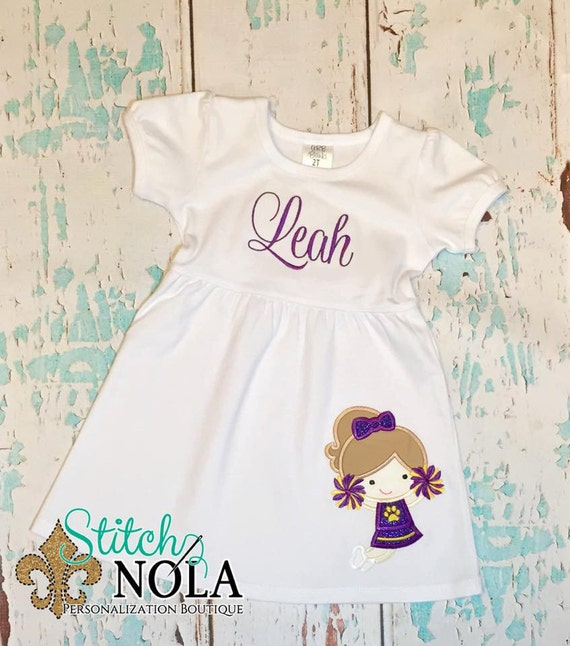 Purple and Gold Cheerleader Dress
