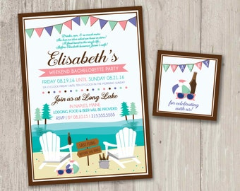 Weekend Bachorlette Party Lake Invitations | Adirondack Chairs | Summer Party | Last Fling Before the Ring Printable