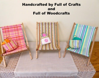 AG Doll Beach Chair, Beach Bag and Towel set/Sling Beach Chair/American Girl Doll Beach Set/18 inch Doll Folding Chair/ AG Doll Furniture