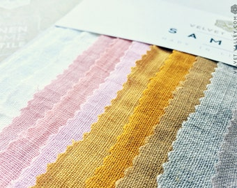 Set of Linen Fabric Samples/Swatches -Light -Medium-Linen Fabric- Linen Swatch-Linen for Clothes, Bedding, Bedspreads, Furniture Upholstery