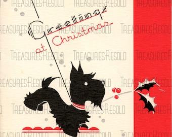 Retro Black Scottie Dog Christmas Card #420 Digital Download