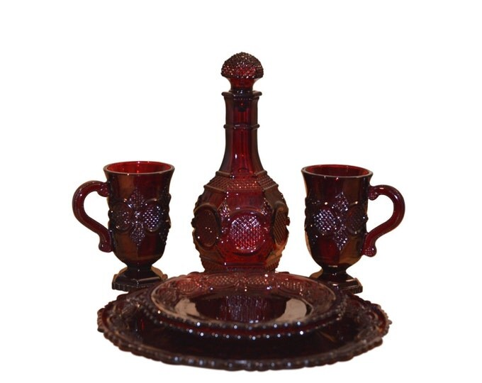 Vintage Estate Cape Cod Ruby Red Glass Dishes (6) Avon