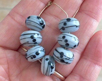 Grey  black  beads  andmade lampwork set glass bead