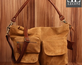 LECONI shoulder bag shoulder bag lady bag leather case leather cognac LE0039-VL