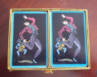 1950's Used Congress Playing Cards Cele U Tone Original Felt Box Canasta Rules Collectible Cards B30