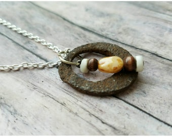 Found art necklace, industrial salvage jewelry, found object necklace, rusty washer necklace, one of a kind necklace, gift mom, reclaimed
