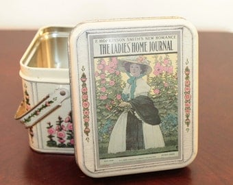 Sewing Tin with Handles – The Ladies Home Journal  - Pale Yellow with Floral Motif