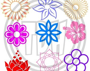 Digital Download Multi Flower Designs SVG DXF EPS Silhouette Studio Cricut Design Space