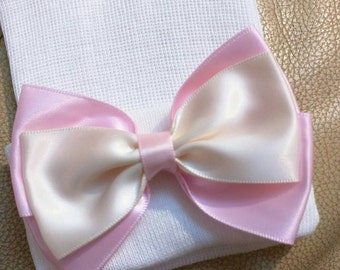 Newborn Hospital Hat! Pink and Ivory Bow. Sweet! Perfect as part of going home outfit too! Your Baby Will Be The