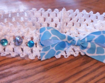 White and blue stretch headband