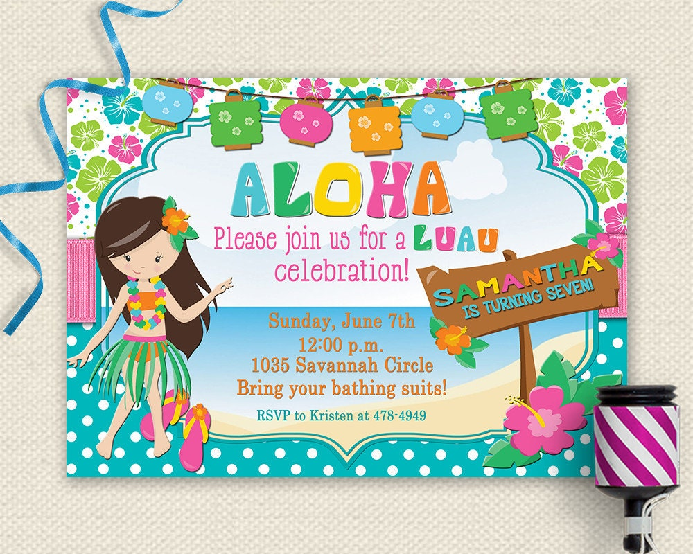 Luau Invitation Luau Birthday Invitation Luau Party Luau