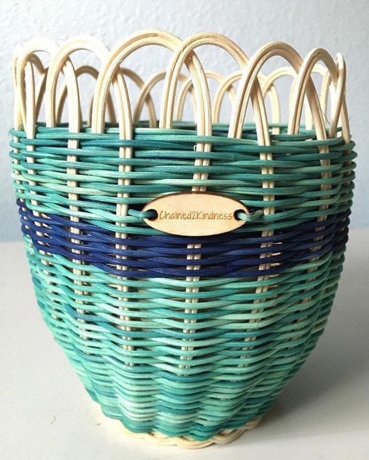 Woven Basket Art : Woven basket art natural turquoise denim blue