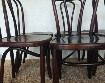 Set of 6 Vintage Austrian Bentwood Cafe Chairs, Made in Vienna