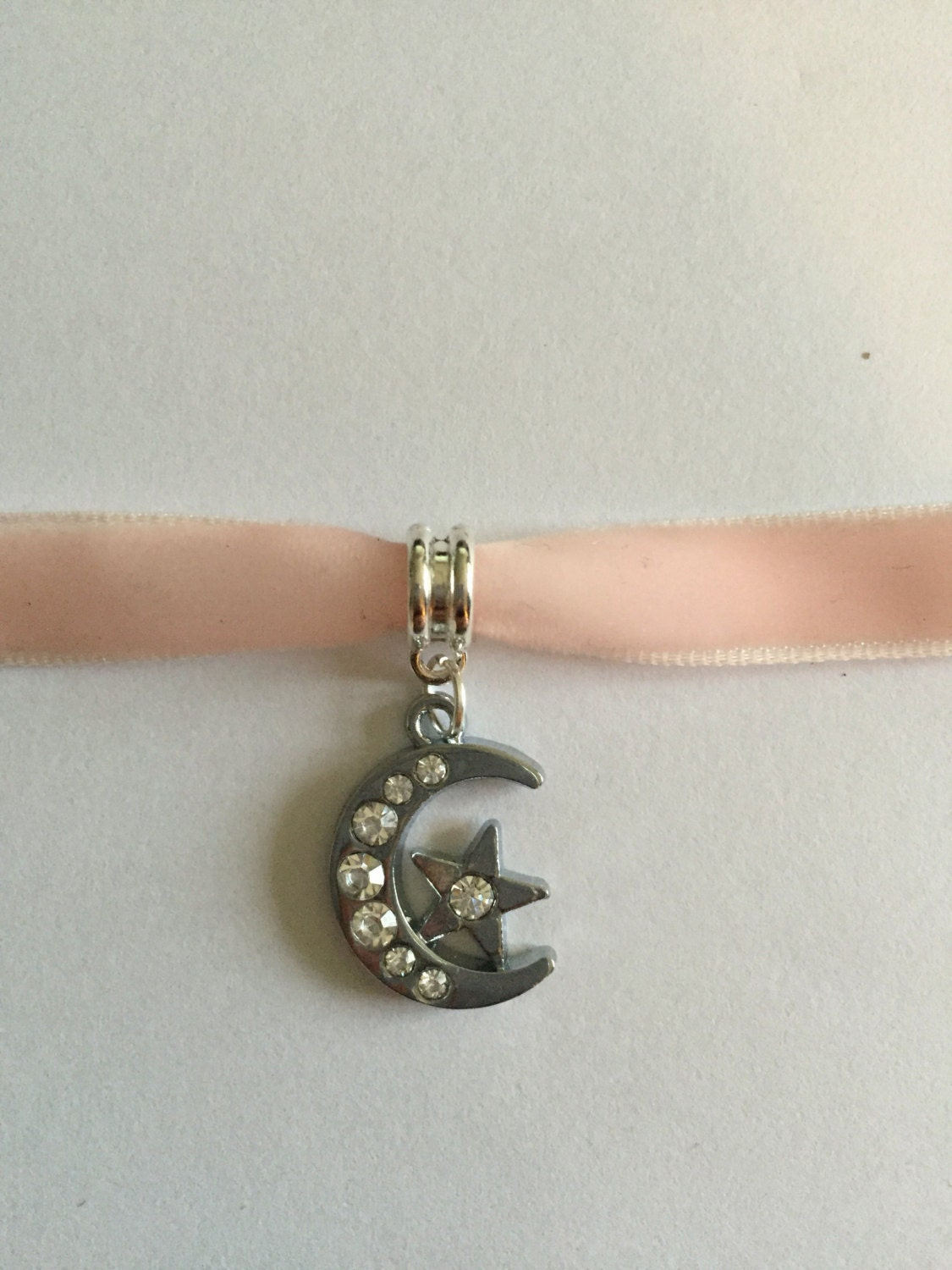 Pink Velvet Ribbon Choker Necklace With Moon And Star Charm